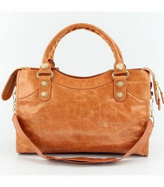 Bolsa Balenciaga Classic City Orange/Gold na internet