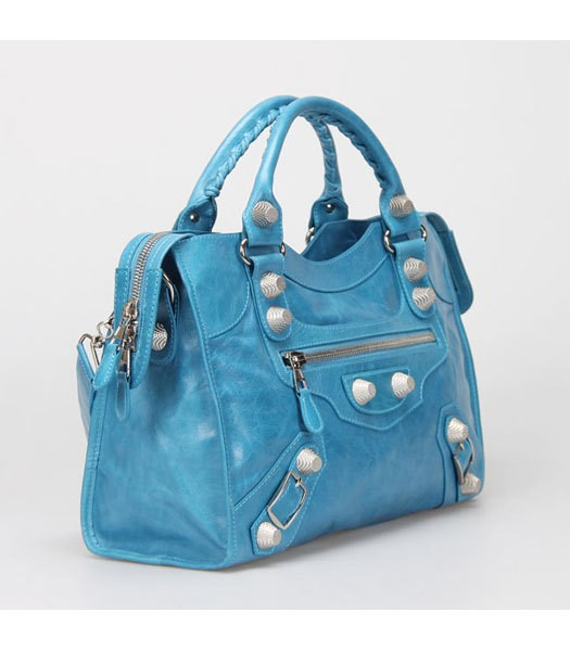 Bolsa Balenciaga Classic City Lake Blue/Silver na internet