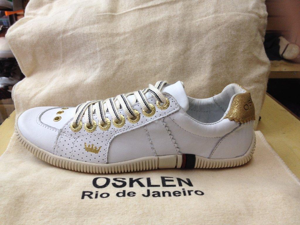 3da7a7d66 Tênis Osklen Riva Couro Branco/Dourado Feminino