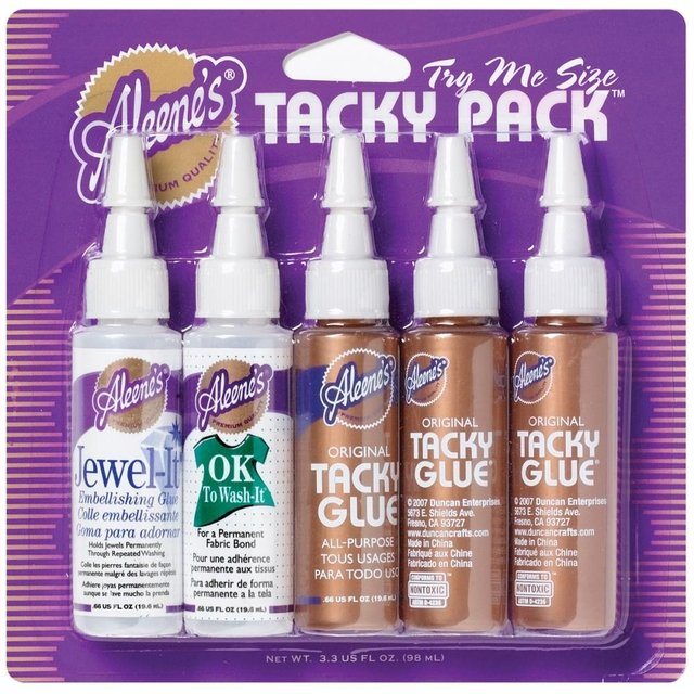 Aleene's Try Me Size Tacky Pack .66oz 5/Pkg Jewel-It, Ok To Wash-It & 3 Original