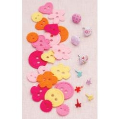 Sarah Jane Children At Play Brads & Buttons Girl 9 Brads & 20 Felt Buttons - comprar online