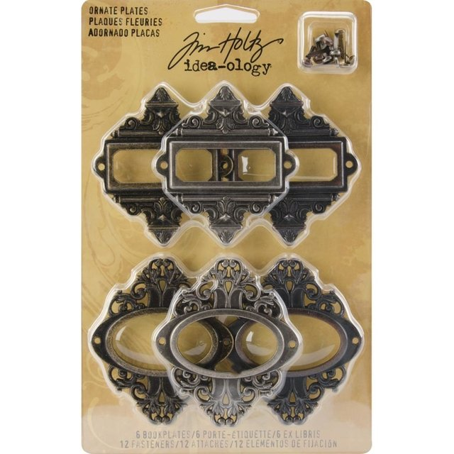 Tim Holtz Idea-Ology Metal Ornate Plates W/Fasteners