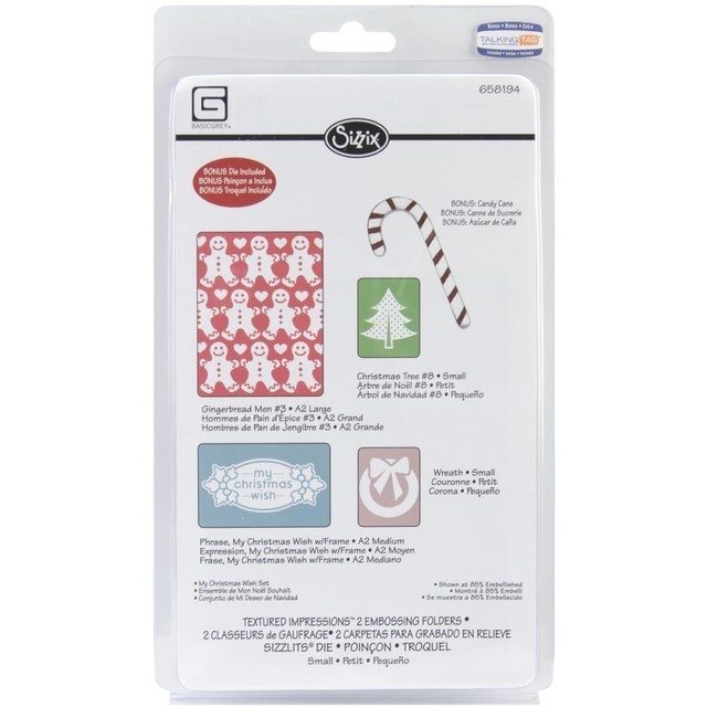 Sizzix Textured Impressions A2 Embossing Folder W/Bonus 5/Pk My Christmas Wish By BasicGrey en internet