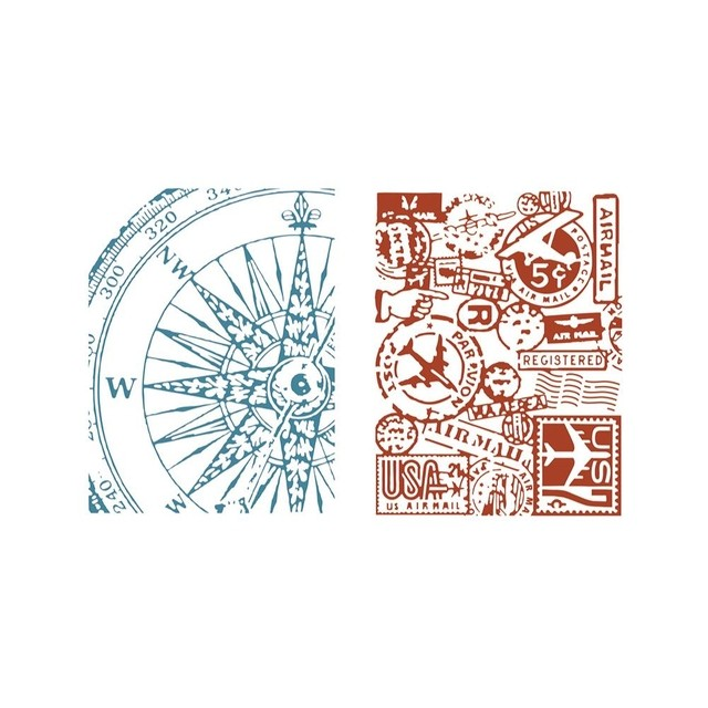 Sizzix Textured Impressions A6 Embossing Folders 4/Pkg Airmail & Compass By Tim Holtz - comprar online