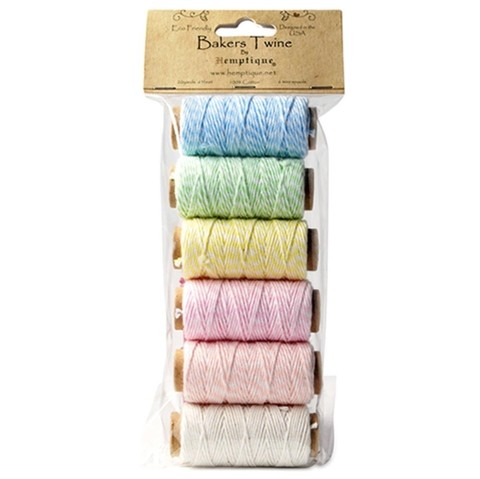 Cotton Baker's Twine Mini Spool Set 2-Ply 65' Creamy Pastel