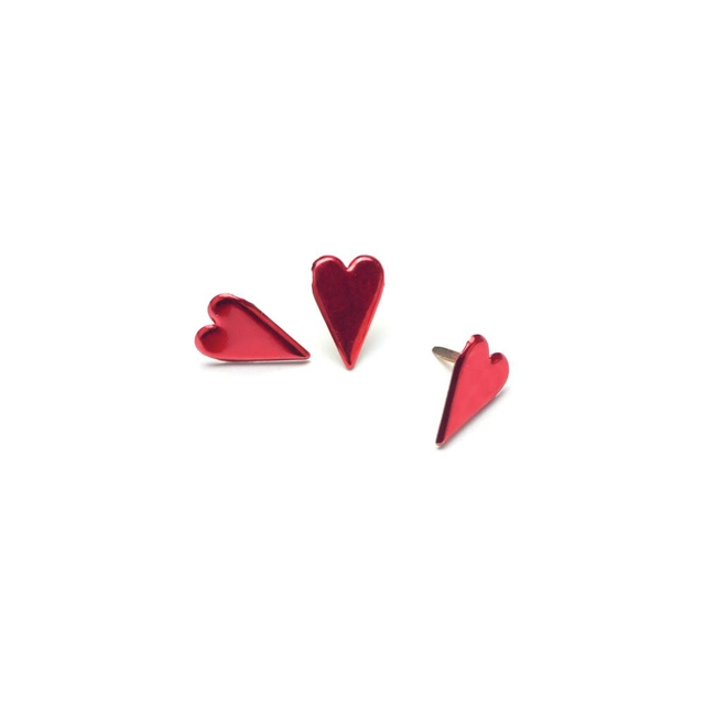 Painted Metal Paper Fasteners 50/Pkg Long Hearts - Metallic Red / Brads forma de coraz+ones x 50 unidades - comprar online