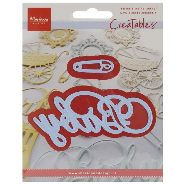 Marianne Design Creatables Dies Baby Text & Safety Pin, 4
