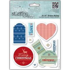 "Papermania Christmas In The Country Urban Stamps 5""X5"" / Sello de Goma Christmas in the Country"