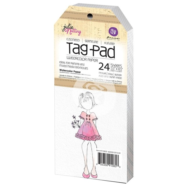 Julie Nutting Mixed Media Tag Pad 24/Pkg Watercolor 3.5