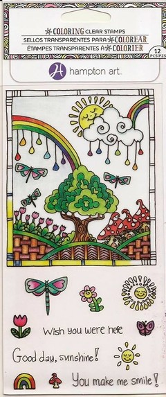 "Coloring Clear Stamps By Hampton Art. ""Rainbow"""