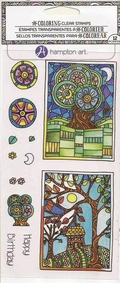"Coloring Clear Stamps By Hampton Art. ""Trees"" / Sello Arboles en internet"