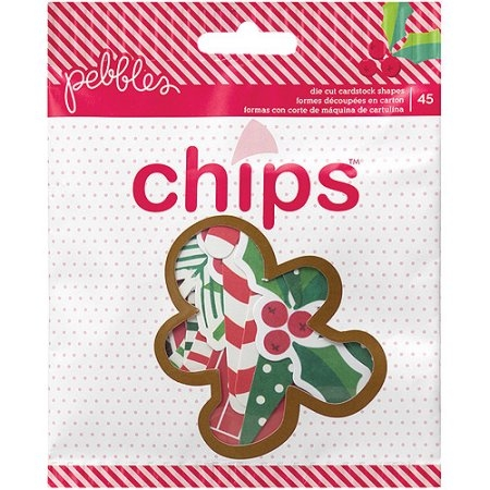 Pebbles Home For Christmas Chips Cardstock Die-Cuts 45/Pkg Shapes - comprar online