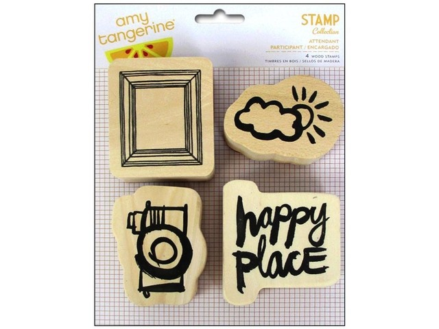 American Crafts Stamps Wood Amy Tangerine Plus One Attendant
