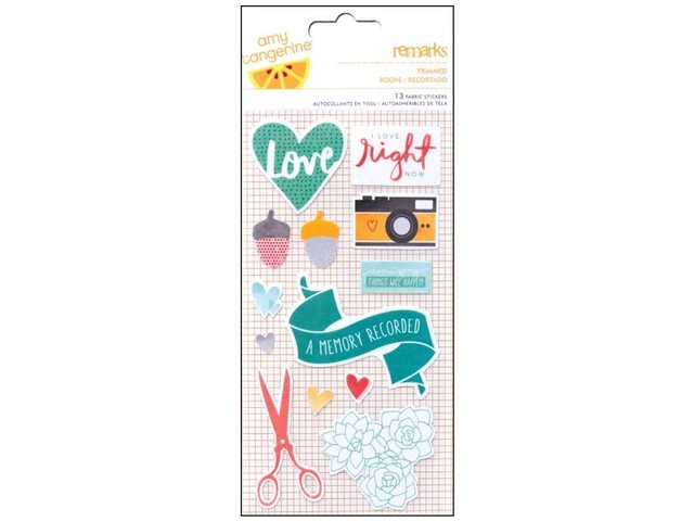 American Crafts Collection Amy Tangerine Stitched Sticker Remarks Fabric Trimmed en internet