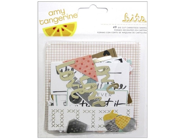 American Crafts Collection Amy Tangerine Stitched Bits Cardstock Die Cuts