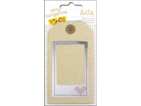 American Crafts Collection Amy Tangerine Stitched Tags Layered & Stitched