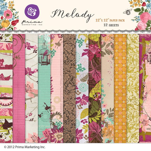 PRIMA MARKETING MELODY - PACK DE 12 PAPELES 30X30 CM