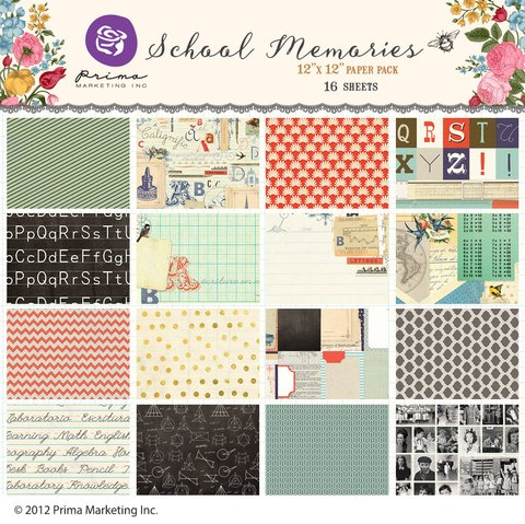PRIMA MARKETING SCHOOL MEMORIES - PACK DE 16 PAPELES 30X30 CM