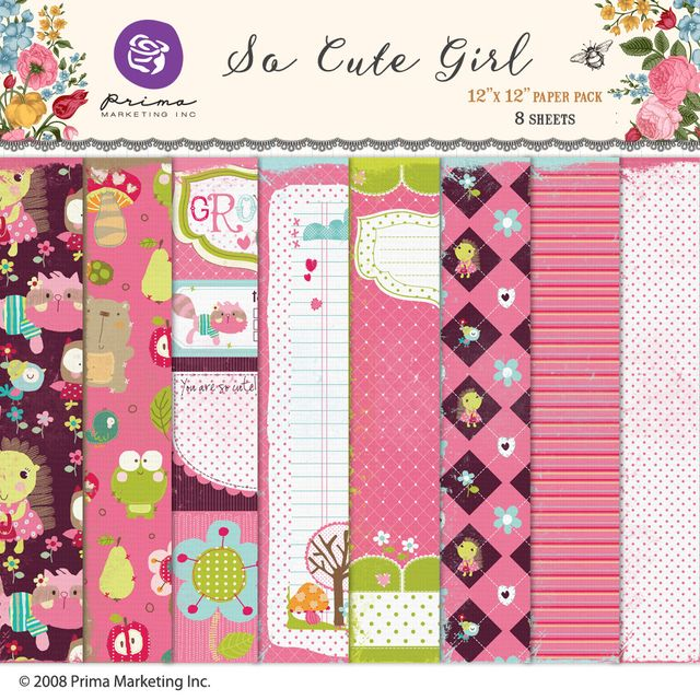 PRIMA MARKETING SO CUTE GIRL - PACK DE 8 PAPELES 30X30 CM