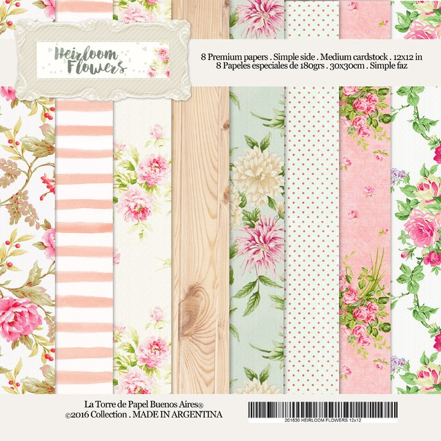 HEIRLOOM FLOWERS - PACK DE 8 PAPELES 30X30 CM