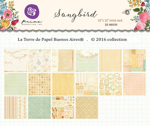 PRIMA MARKETING SONGBIRD - PACK DE 16 PAPELES 30x30 CM - comprar online