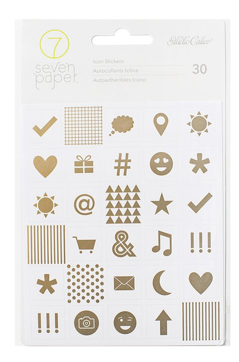 Studio Calico - Seven Paper - Elliot Collection - Cardstock Stickers with Foil Accents - Icons / Stickers de Iconos en Foil Dorado x 30 Piezas - comprar online