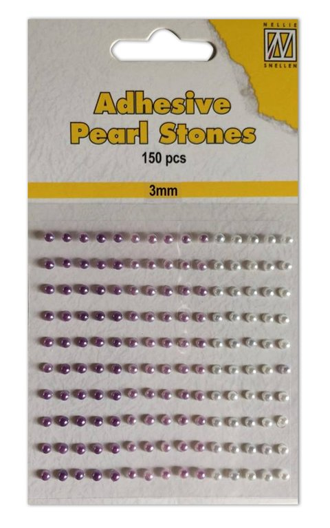 Nellie´s Snellen Adhesive Pearls Stones 3mm Lilac / Perlas Autoadhesivas 3mm X 150 UNIDADES Lila
