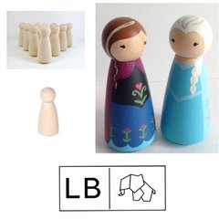Wood Turning Shapes Pin Doll x 6 pcs / Madera Torneada para Muñecos x 6 unidades - Laura Bagnola Crafts