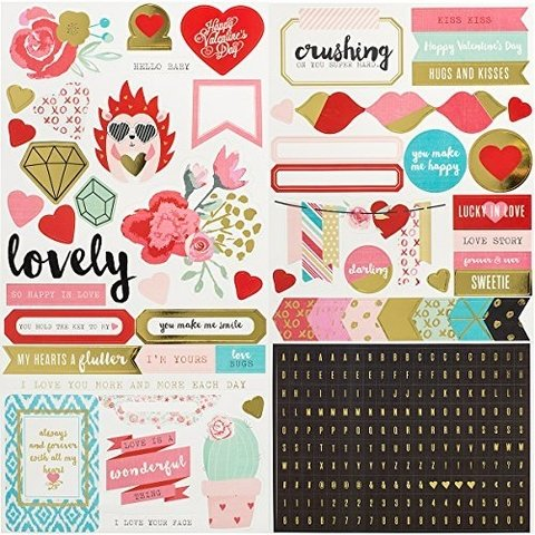 STICKERS - WE R - CRUSH - GOLD FOIL - 6 X 12 - 2 SHEETS (259 PIECE)