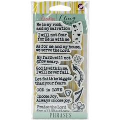 "Prima Marketing Jamie Dougherty Creating In Faith Cling Stamps 3""X5.5"" PHRASES"