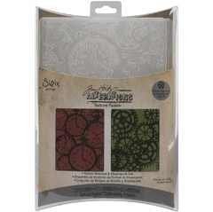 Sizzix Texture Fades A2 Embossing Folders 2/Pkg Clock & Steampunk By Tim Holtz