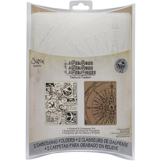 Sizzix Textured Impressions A6 Embossing Folders 4/Pkg Airmail & Compass By Tim Holtz