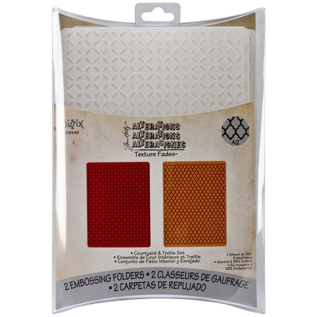 Sizzix Textured Impressions A6 Embossing Folders 4/Pkg Courtyard & Trellis By Tim Holtz