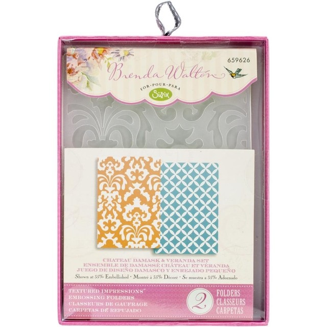 Sizzix Textured Impressions A6 Embossing Folders 2/Pkg Chateau Damask & Veranda