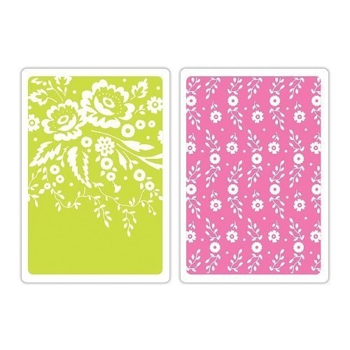 Sizzix Textured Impressions A6 Embossing Folders 2/Pkg Floral Tapestry & Sweet Blooms (D) - comprar online