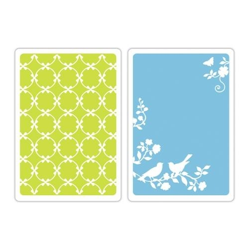 Sizzix Textured Impressions A6 Embossing Folders 2/Pkg Lattice & Songbirds (D) - comprar online