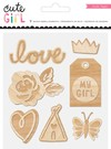 EMBELLISHMENTS - CP - CUTE GIRL - WOOD EMBELLISHENTS / CRATE PAPER COLECCION CUTE GIRL / FORMAS DECORATIVAS DE MADERA DELGADA COLOR NATURAL - comprar online