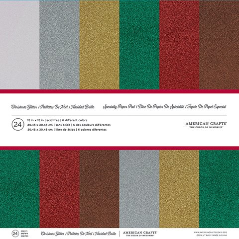 SPECIALTY PAPER PAD - 12 X 12 - GLITTER PAPER - CHRISTMAS - 24 SHEETS