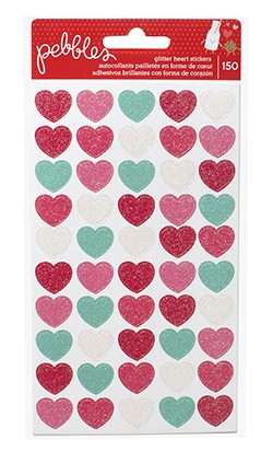 STICKERS - PB - WE GO TOGETHER - GLITTER HEARTS - 3 SHEETS (150 PIECE)