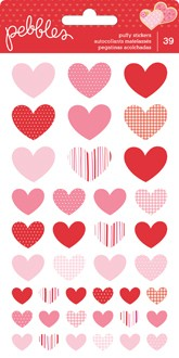 STICKERS - PB - BE MINE - PUFFY HEARTS (39 PIECE)