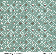 LAURA BAGNOLA  - FRIENDLY SAILORS - PACK DE 12 PAPELES 30X30 CM - Laura Bagnola Crafts