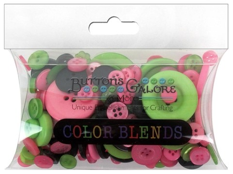 Buttons Galore Button Color Blends 3oz Pink, Black & Lime Mix