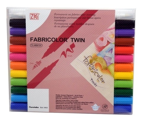 Zig Fabricolor Twin Marker Set of 12.TC-4000/12V / Kit de 12 colores marcadores para tela.