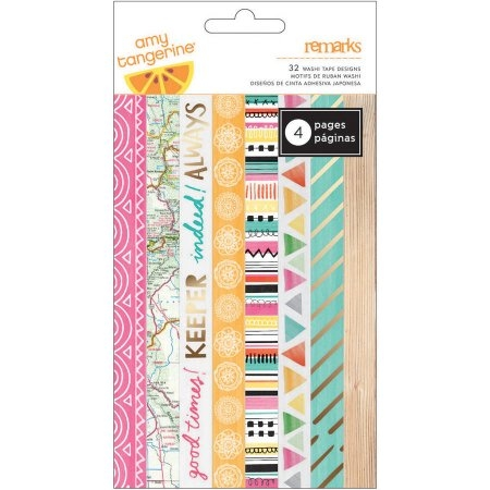 Amy Tan Rise & Shine Washi Tape Strips 6/Sheets / Tiras de Washi tapes Rise & Shine x 6 hojas