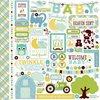 Echo Park - Bundle of Joy New Addition Collection Boy - 12 x 12 Cardstock Stickers - Elements / Formas autoadhesivas en lámina de 30x30cm - Laura Bagnola Crafts