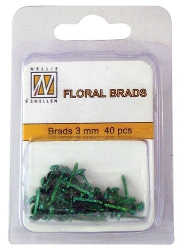 Nellie´s Snellen Floral Brads 3mm Bottle Green con Glitter
