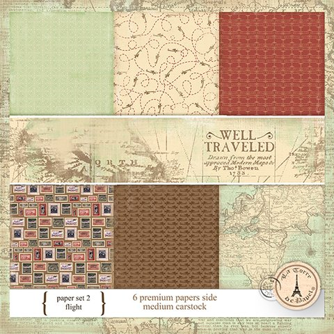 WELL TRAVEL PACK N°2 - PACK DE 6 PAPELES 30X30 CM