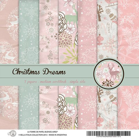CHRISTMAS DREAMS - PACK DE 7 PAPELES 30X30 CM
