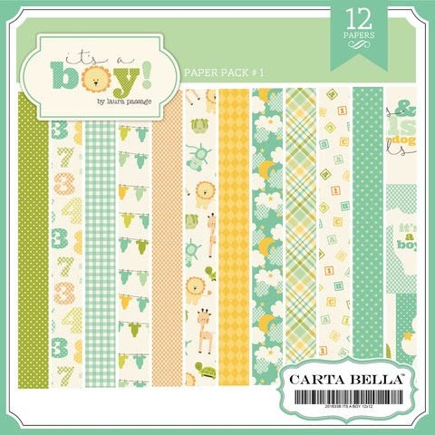 CARTA BELLA IT'S A BOY - PACK DE 12 PAPELES 30X30 CM