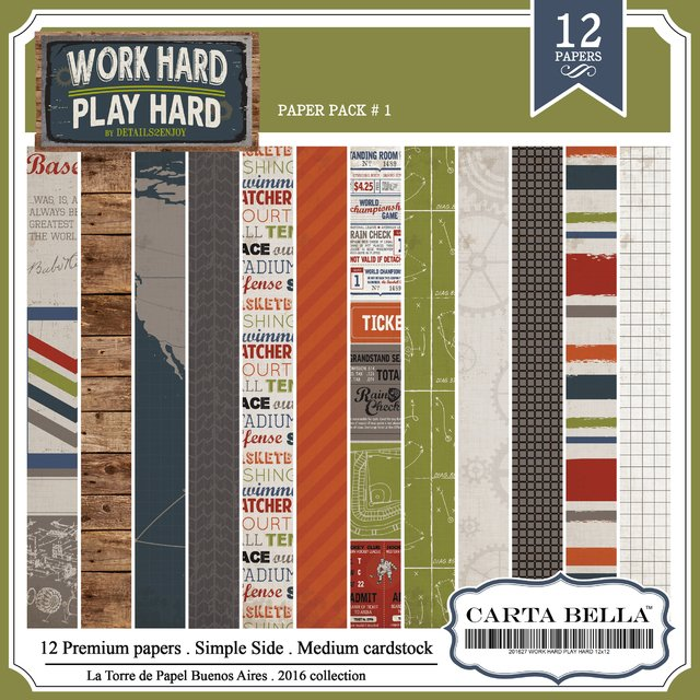 CARTA BELLA WORK HARD PACK N°1 - PACK DE 12 PAPELES 30X30CM